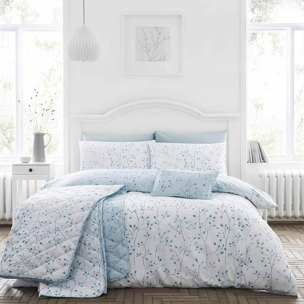 Cotton Rich Hip Sprig Floral Bedspread in Duck Egg