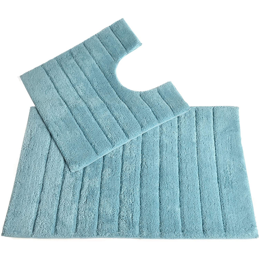 100% Cotton Two Piece Linear Rib Bath and Pedestal Mat in Duck Egg