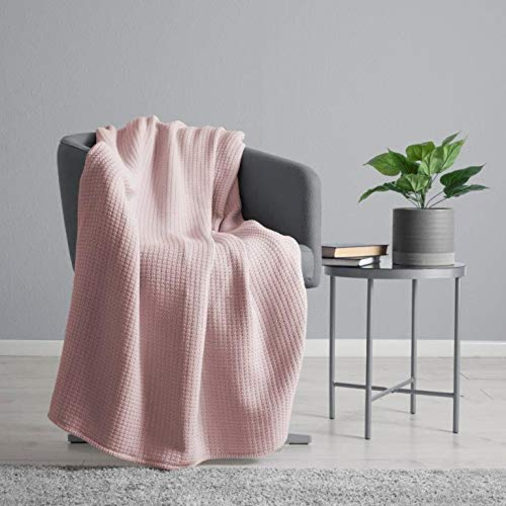 100% Cotton Waffle Weave Throw Blanket in Blush Pink