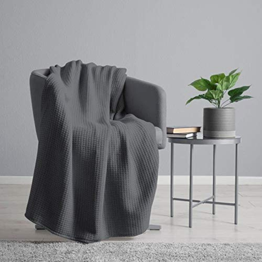 100% Cotton Waffle Weave Throw Blanket in Charcoal Grey