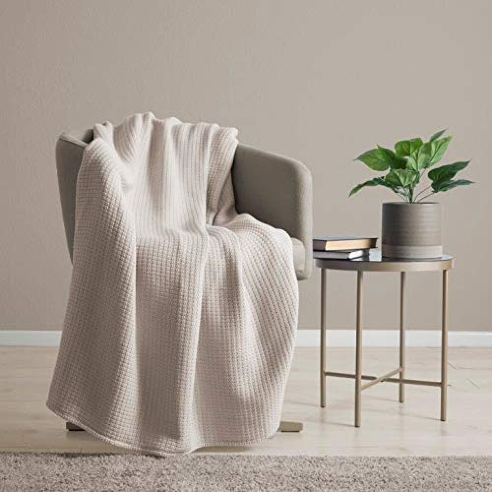 100% Cotton Waffle Weave Throw Blanket in Natural Beige