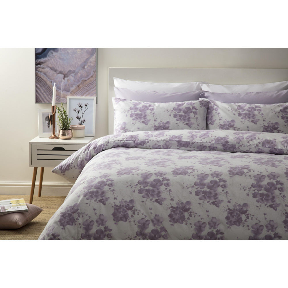 Inky Floral Print Design Duvet Cover Set in Mulberry Pink