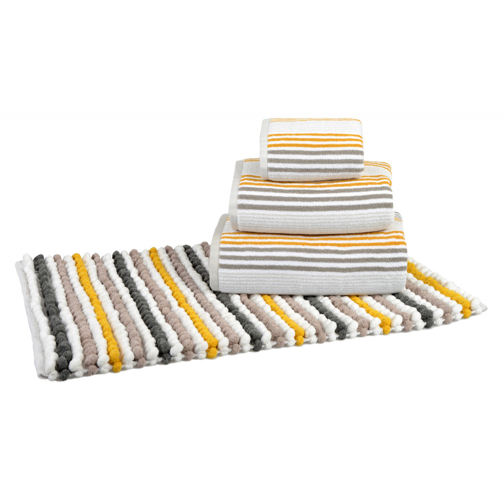 Bobble Bath or Pedestal Mat in Grey Ochre White