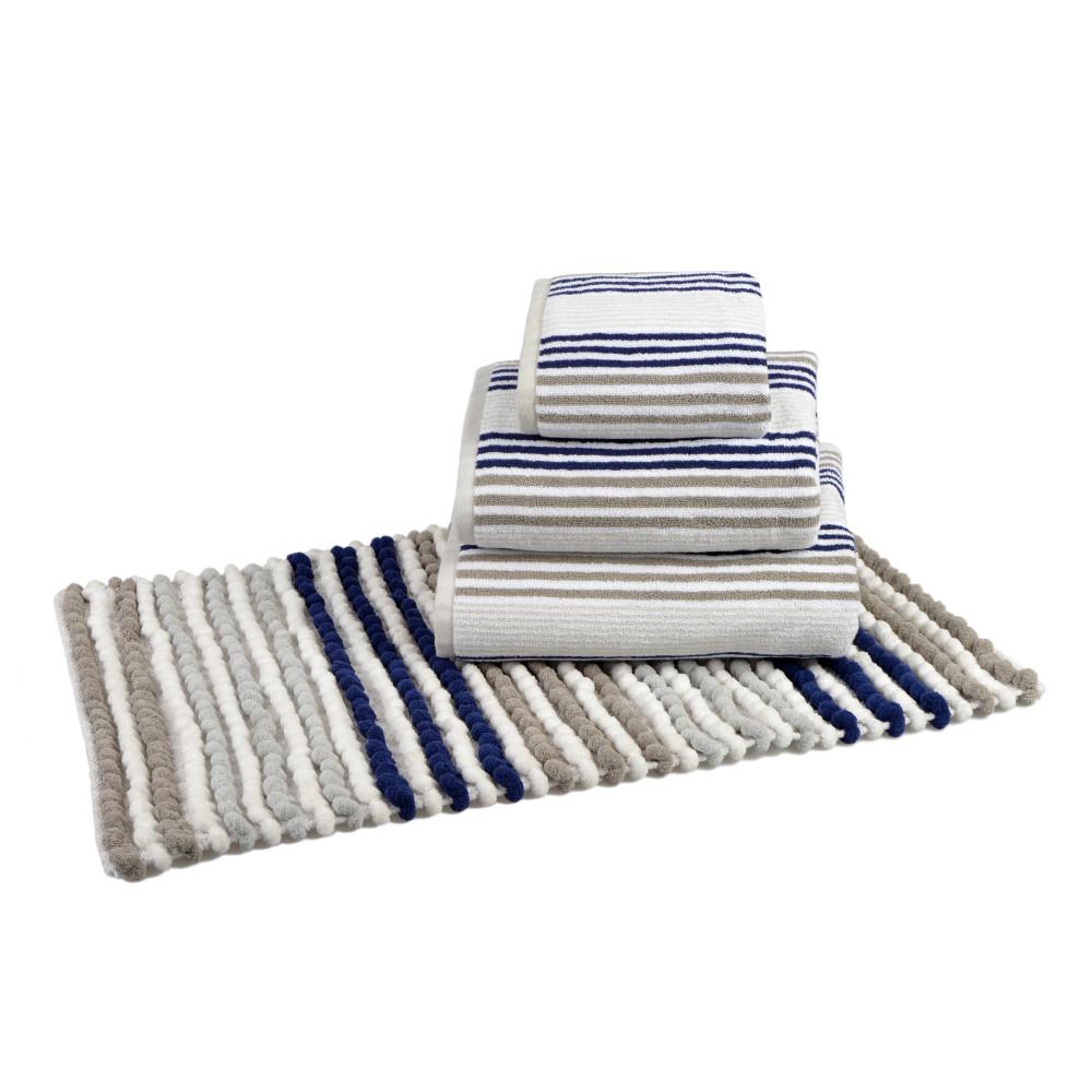 Bobble Bath or Pedestal Mat in Grey, Blue White