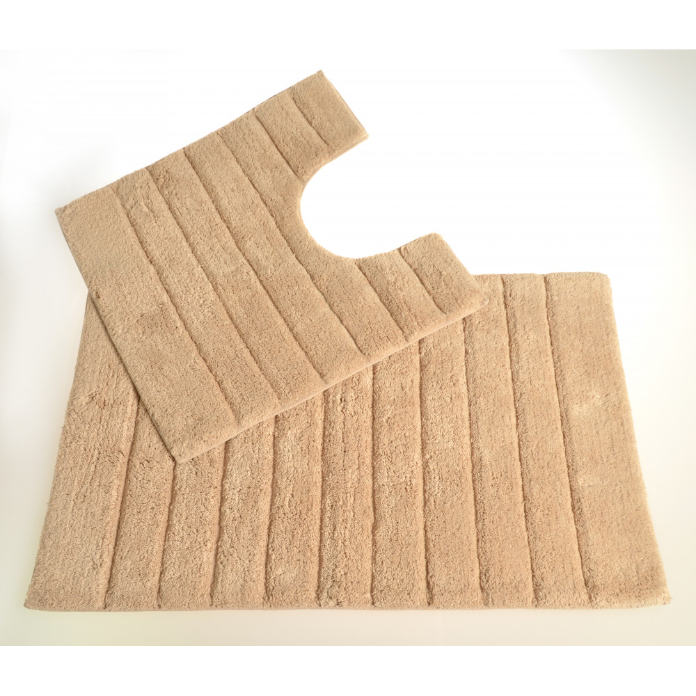 100% Cotton Two Piece Linear Rib Bath and Pedestal Mat in Stone Beige