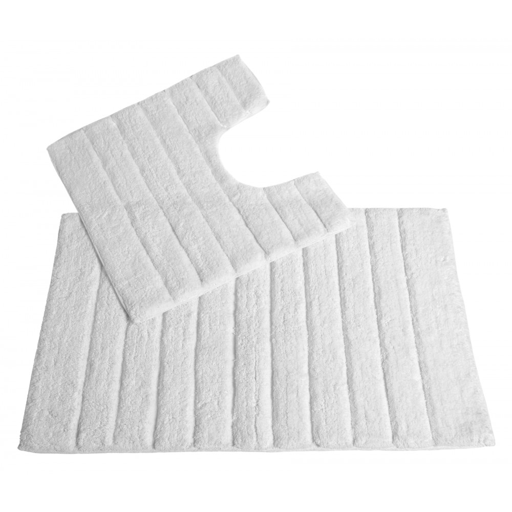 100% Cotton Two Piece Linear Rib Bath and Pedestal Mat in White
