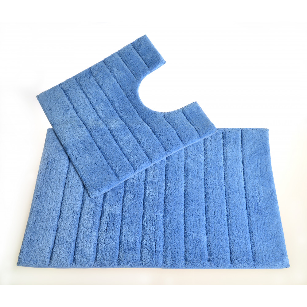 100% Cotton Two Piece Linear Rib Bath and Pedestal Mat in Blue