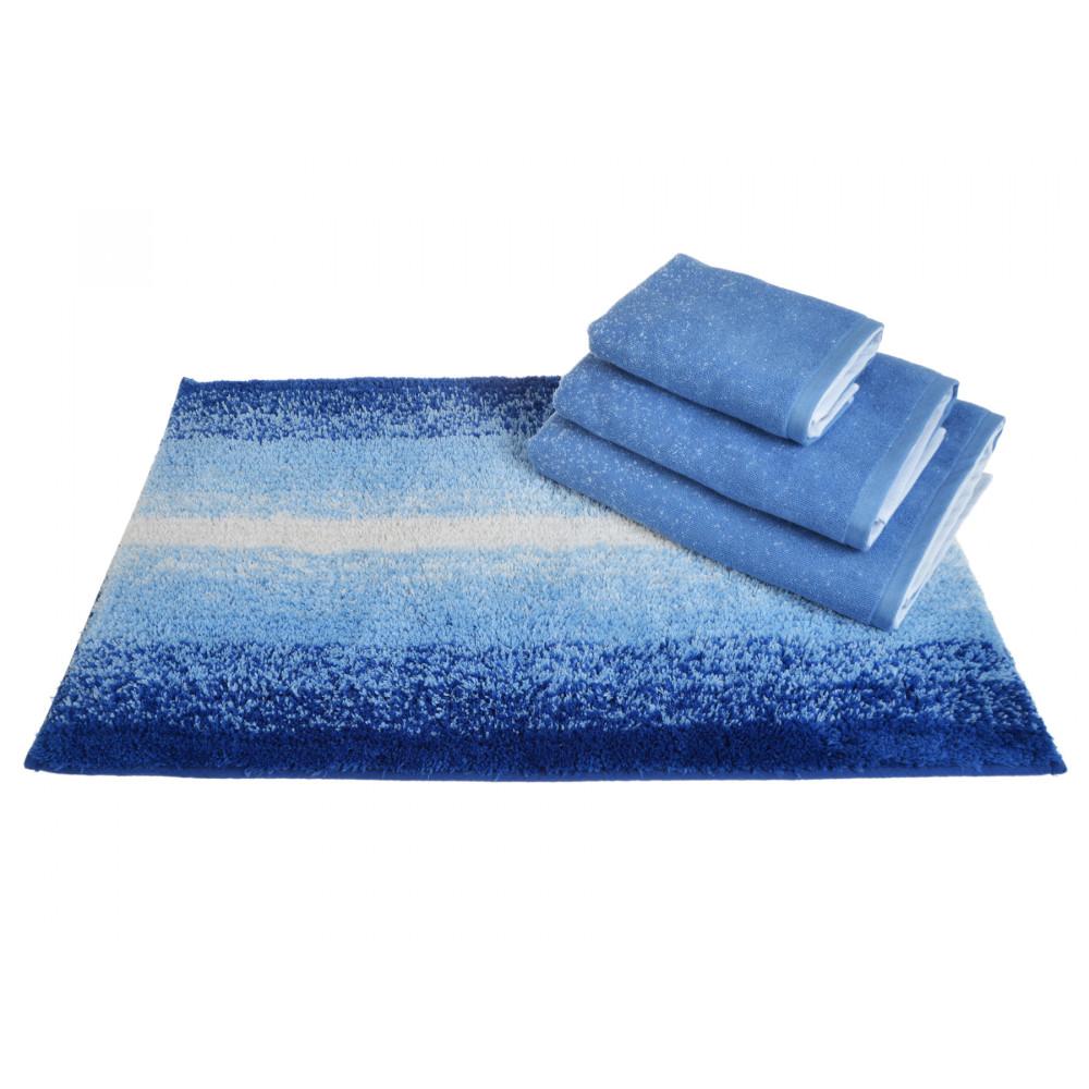 100% Cotton Monochrome Design Bath Mat or Towels in Blue