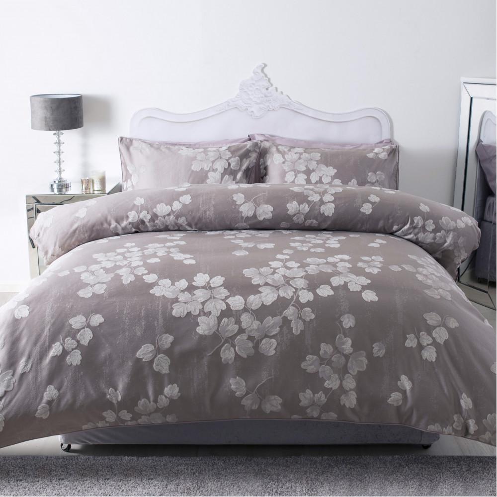 Modern Jacquard Duvet Cover or Bedspread in Mink