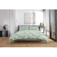 Green Garden Duvet Cover Set Floral Bird Design