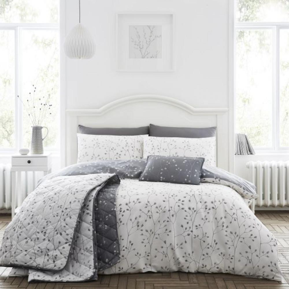 Cotton Rich Hip Sprig Floral Duvet Set in Grey