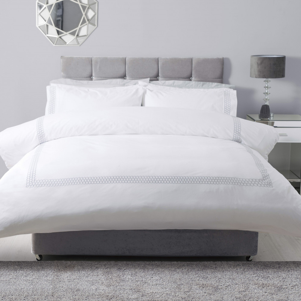 100% Cotton White Duvet Cover Set with Honeycomb Design