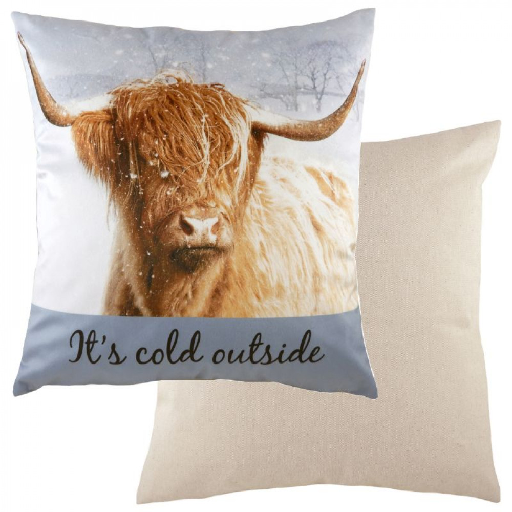 Cute It's Cold Outside Cushion Highland Cow