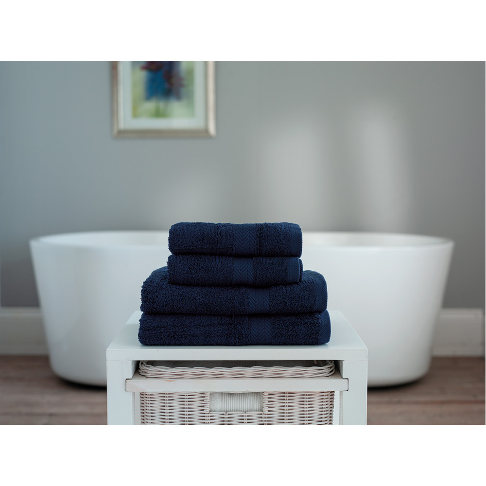 100% Cotton 4 Piece Towel Bale in Navy Blue