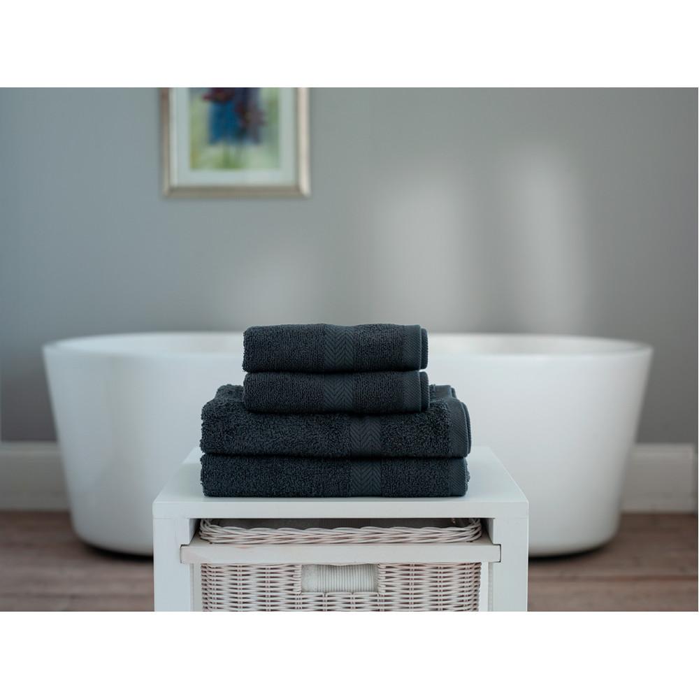 100% Cotton 4 Piece Towel Bale in Dark Grey