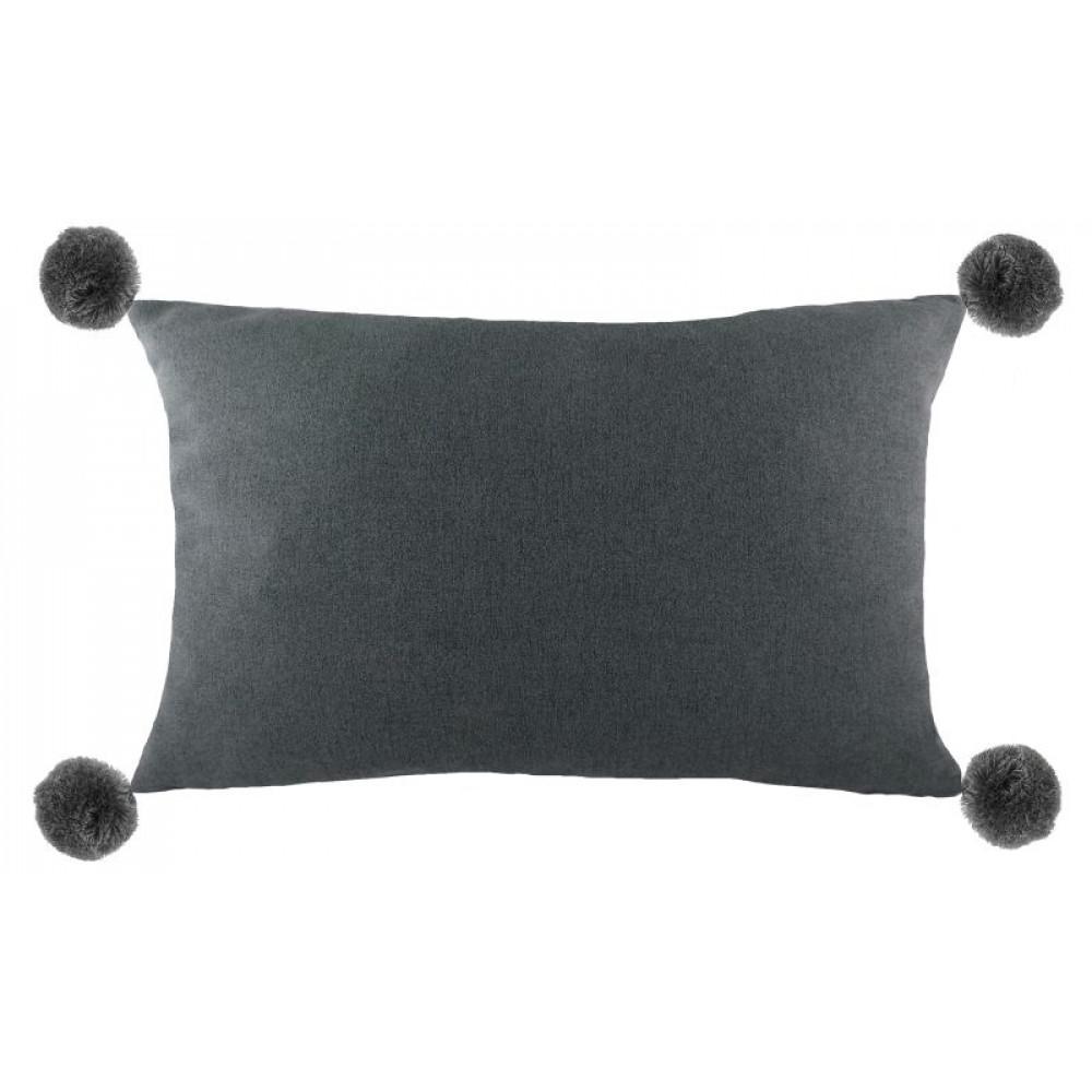Boudoir Style Pom Pom Cushion in Charcoal Grey