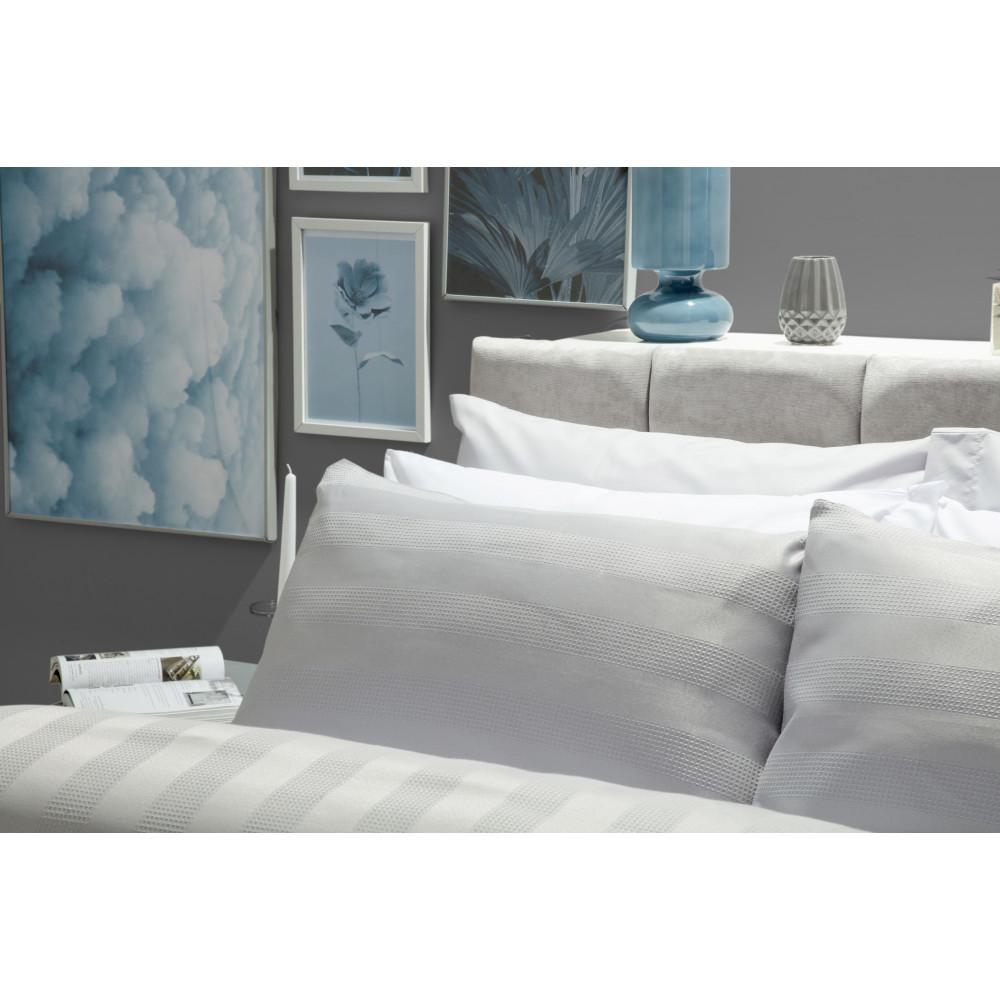 Cotton Rich Waffle Wave Stripe Design Duvet Cover Set in Grey