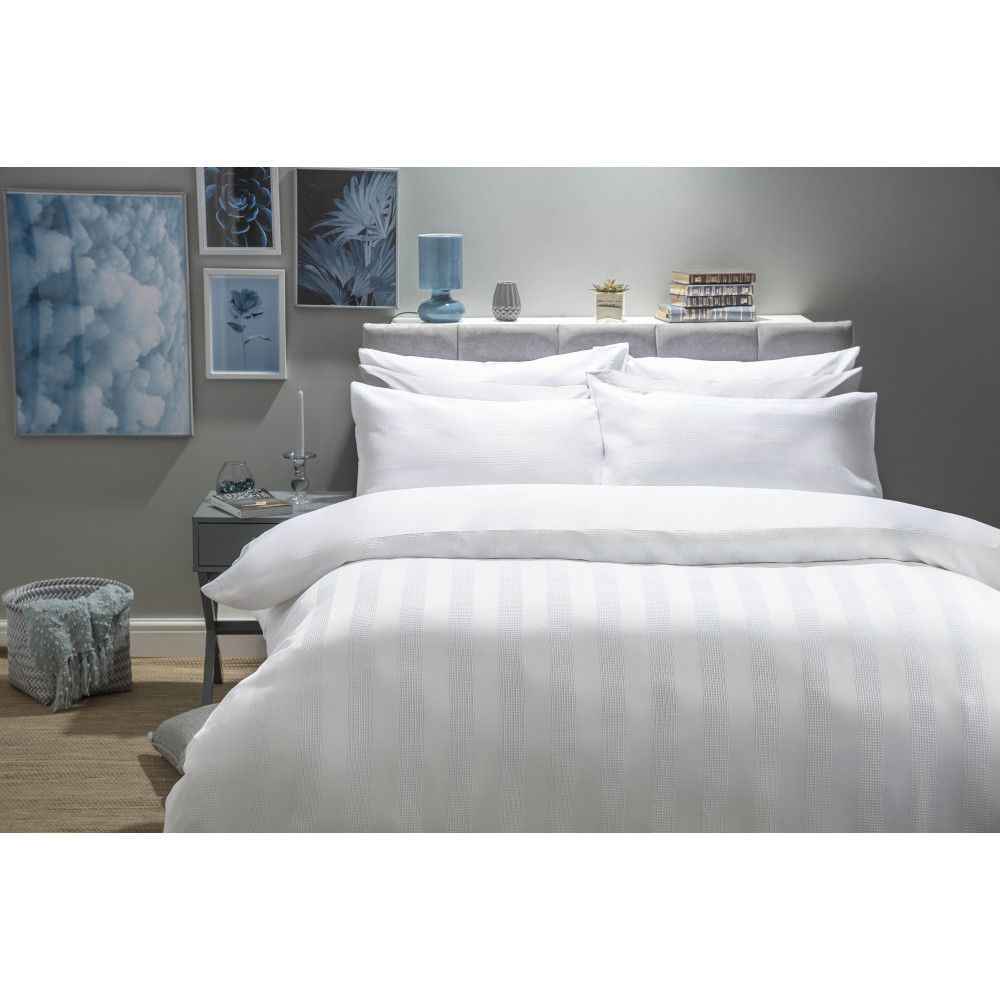Cotton Rich Waffle Wave Stripe Design Duvet Cover Set in White