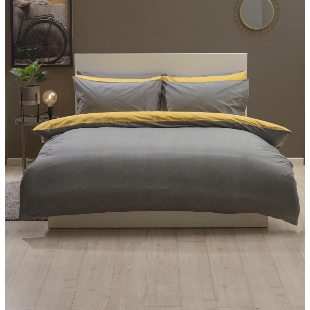 Striking Reversible Duvet Cover Set in Saffron Yellow & Grey