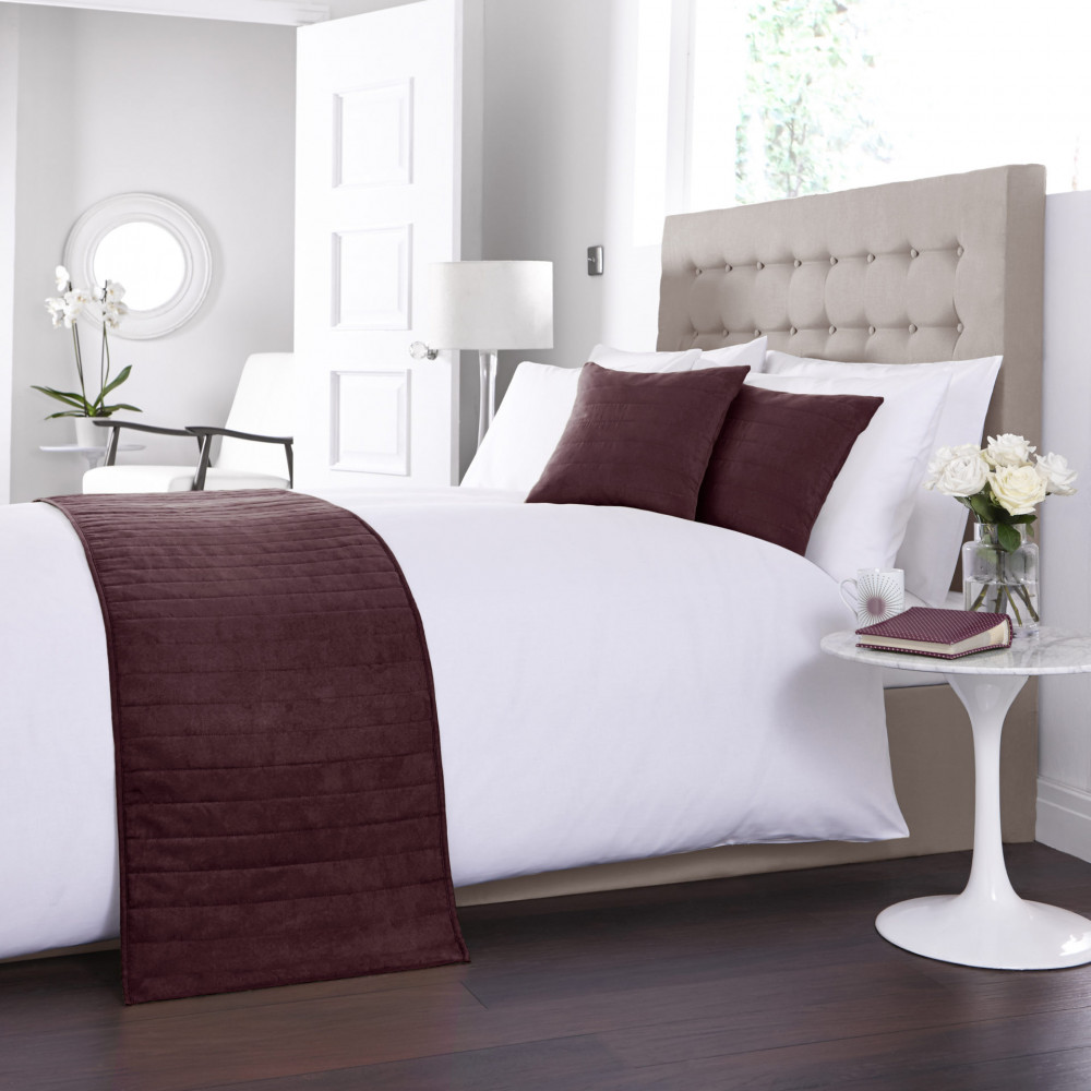 Faux Suede Bed Runner / Cushion Cover in Burgundy