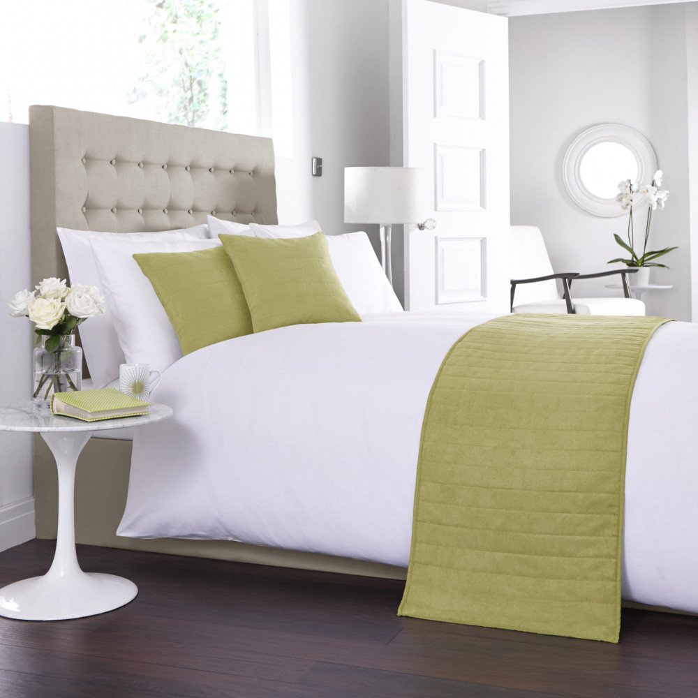 Faux Suede Bed Runner / Cushion Cover in Green