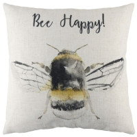 Be Happy Printed Cushion Linen Colour
