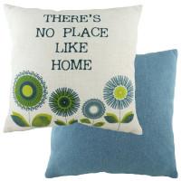 Evans Lichfield Retro Cushion 'No Place Like Home' Denim Blue