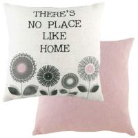 Evans Lichfield Retro Cushion 'No Place Like Home' Pink