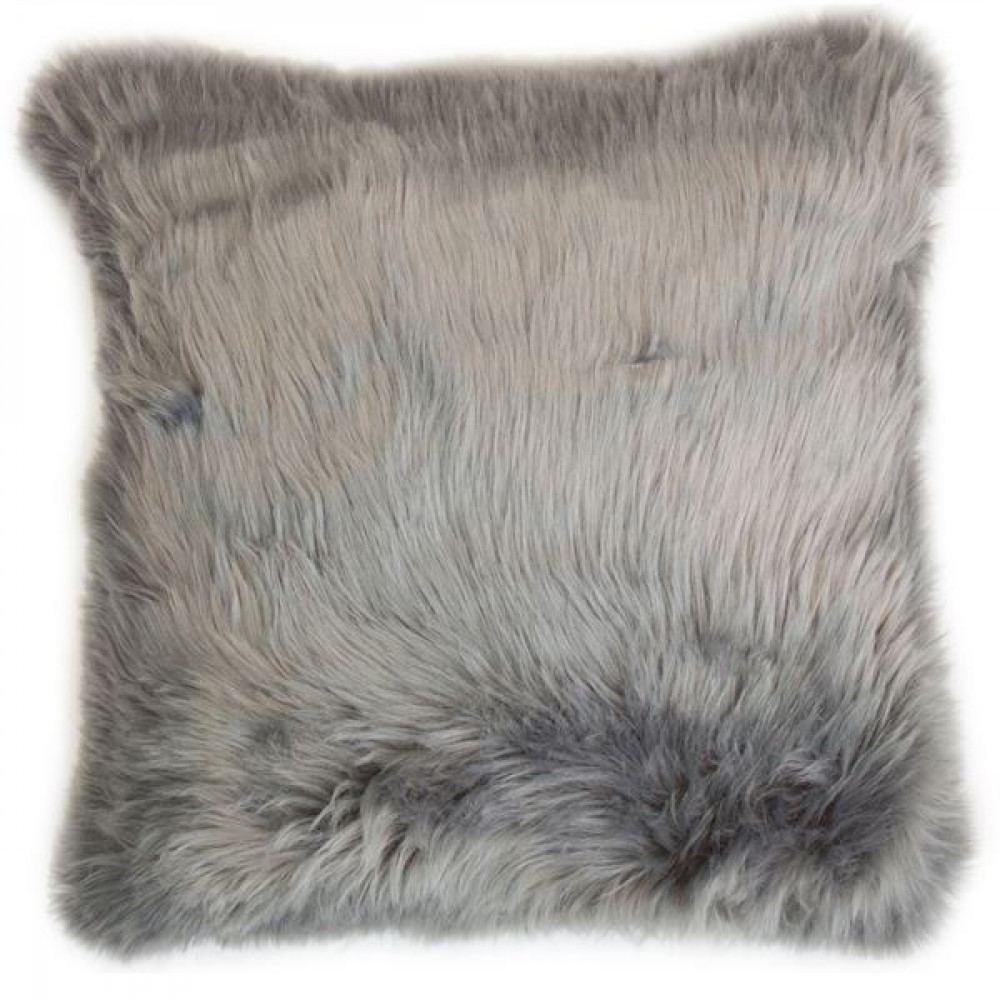 Malini Luxurious Faux Sheepskin Snug Cushion in Grey