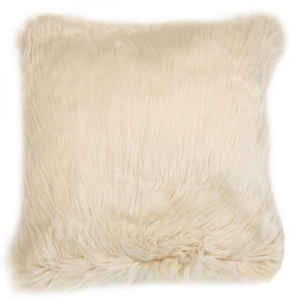 Malini Luxurious Faux Sheepskin Snug Cushion in Natural Beige