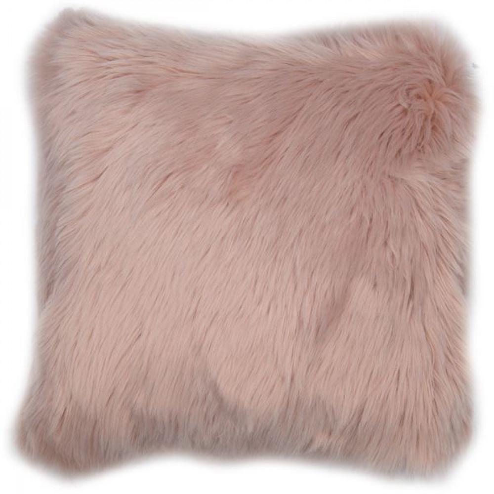 Malini Luxurious Faux Sheepskin Snug Cushion in Pink