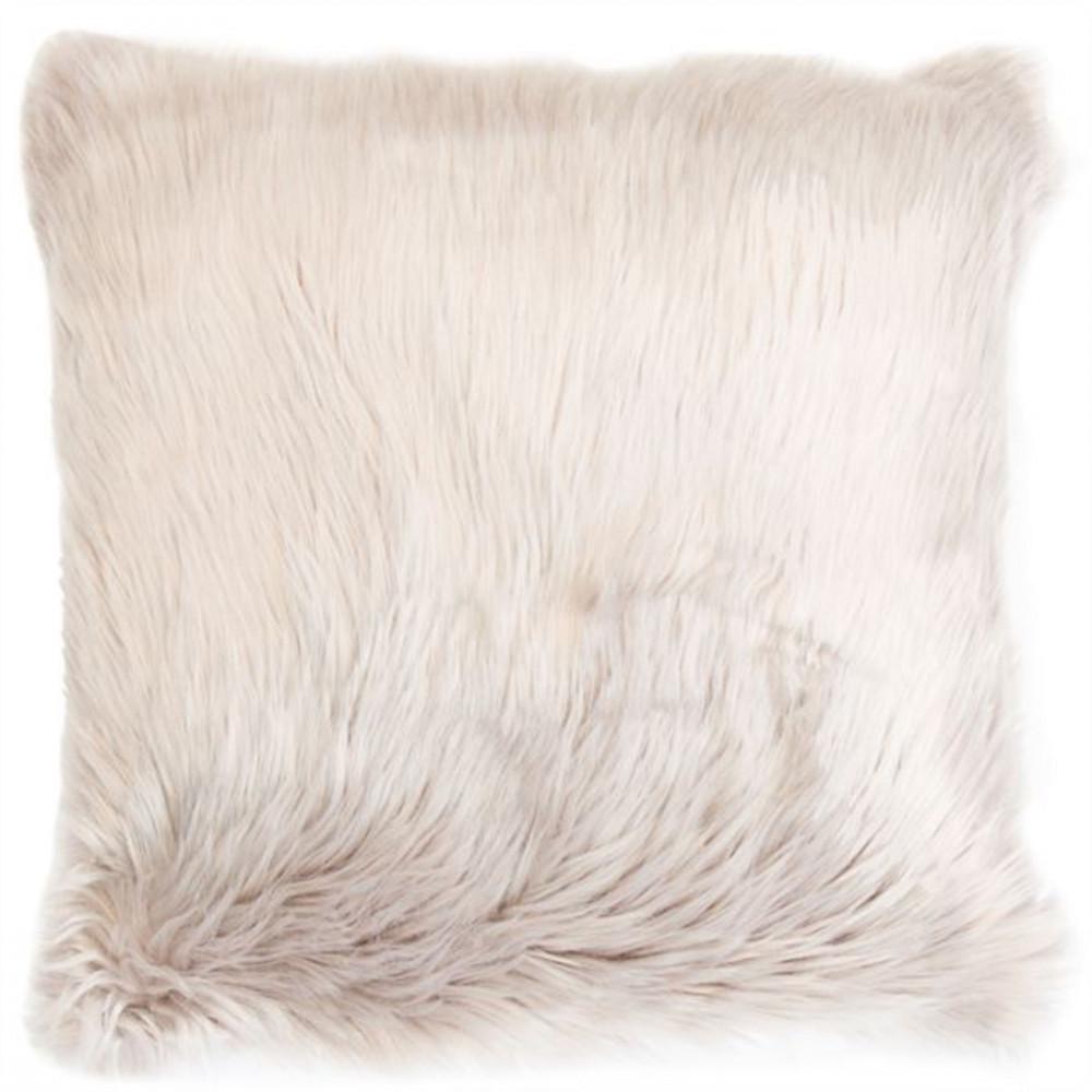 Malini Luxurious Faux Sheepskin Snug Cushion in Taupe
