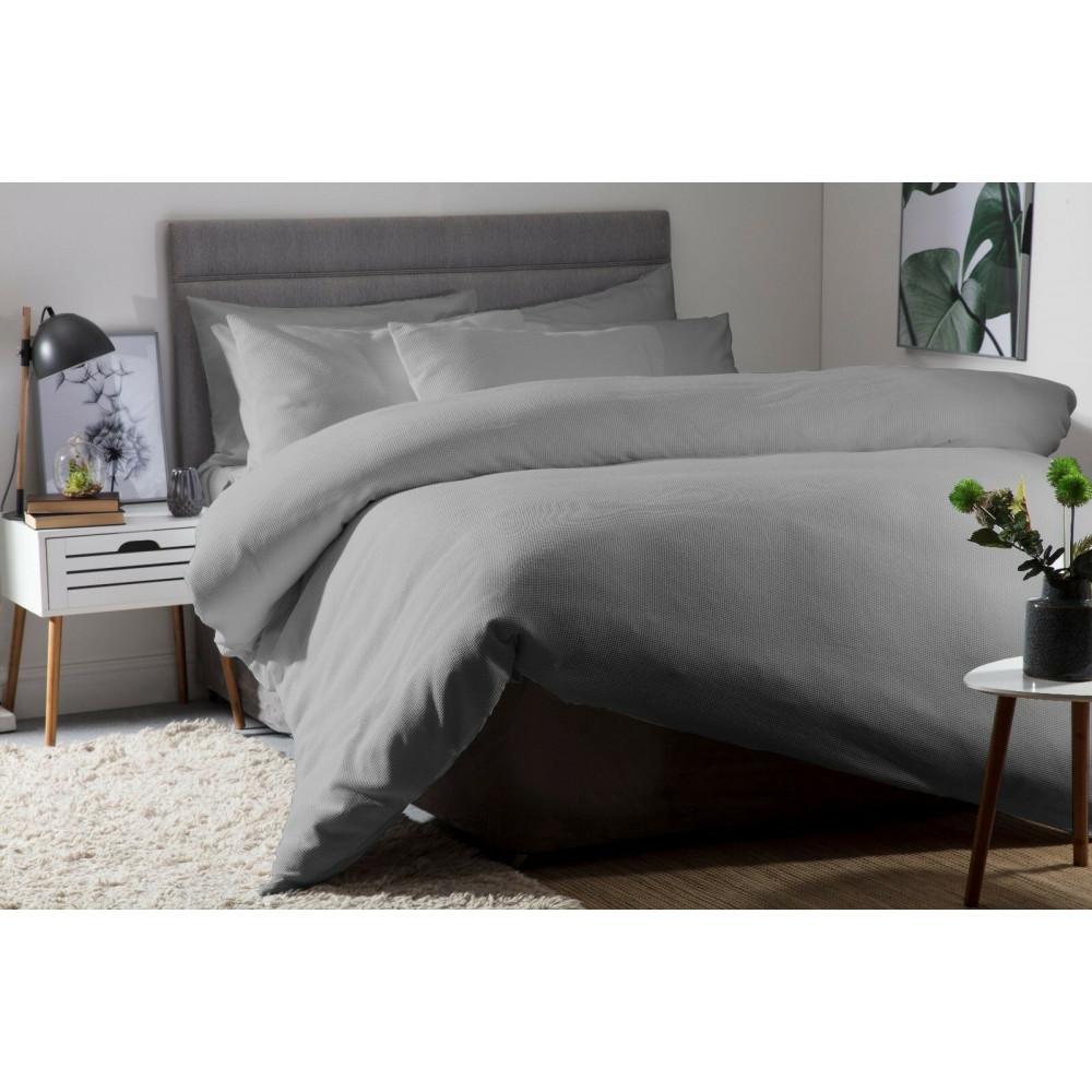 100% Cotton Waffle Weave Duvet Cover Set Slate Grey