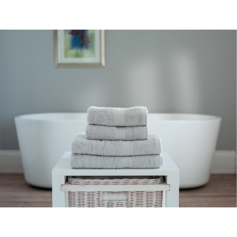 100% Cotton 4 Piece Towel Bale in Light Grey