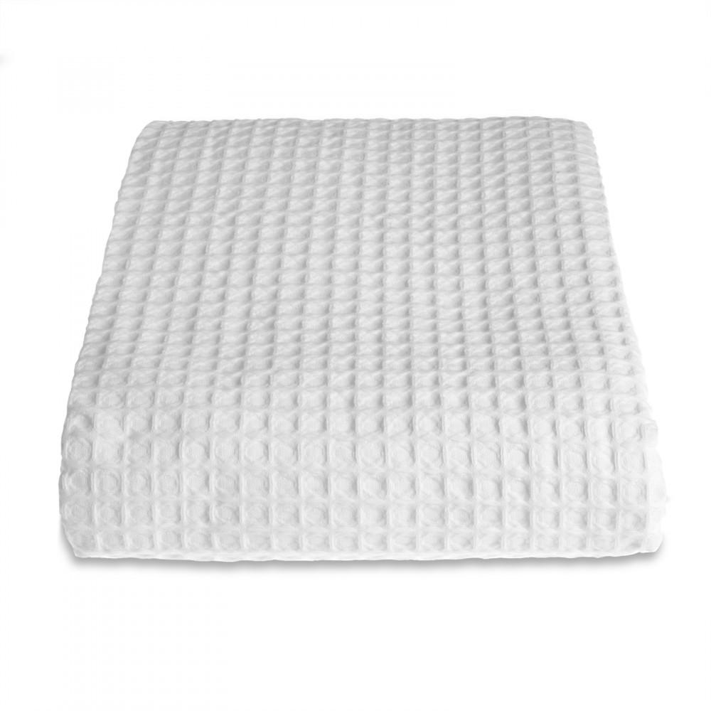 100% Cotton Hotel Waffle Weave Throw White