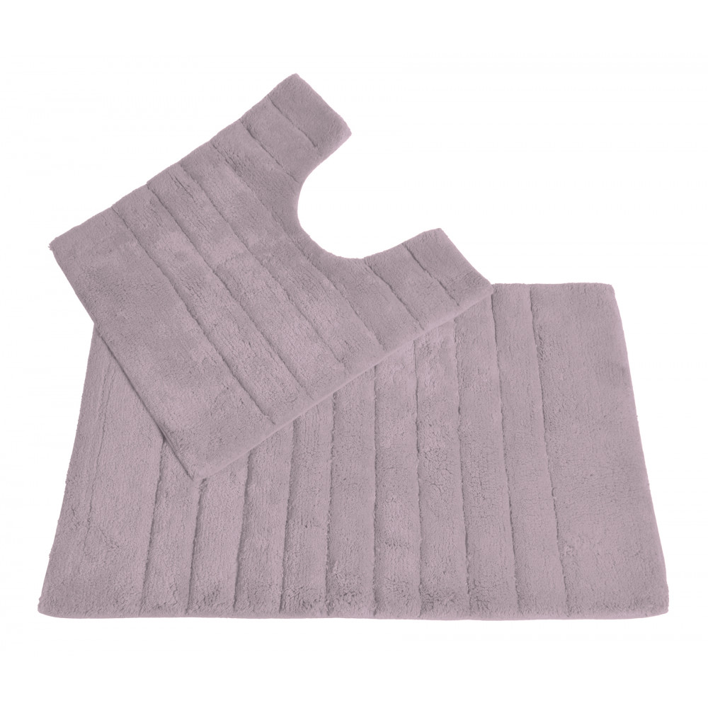 100% Cotton Two Piece Linear Rib Bath and Pedestal Mat in Heather
