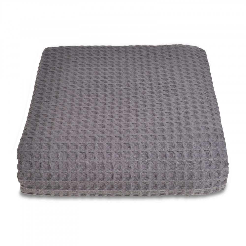 100% Cotton Hotel Waffle Weave Throw Charcoal Grey