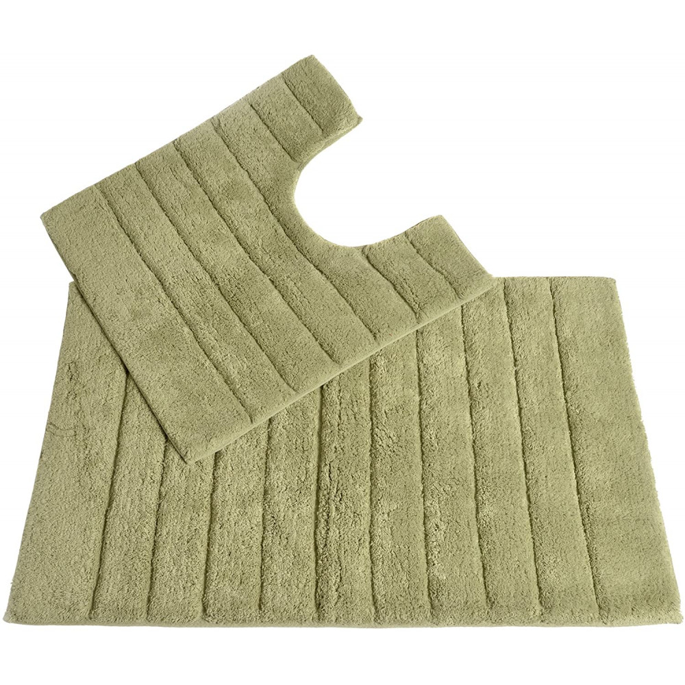 100% Cotton Two Piece Linear Rib Bath and Pedestal Mat in Sage Green