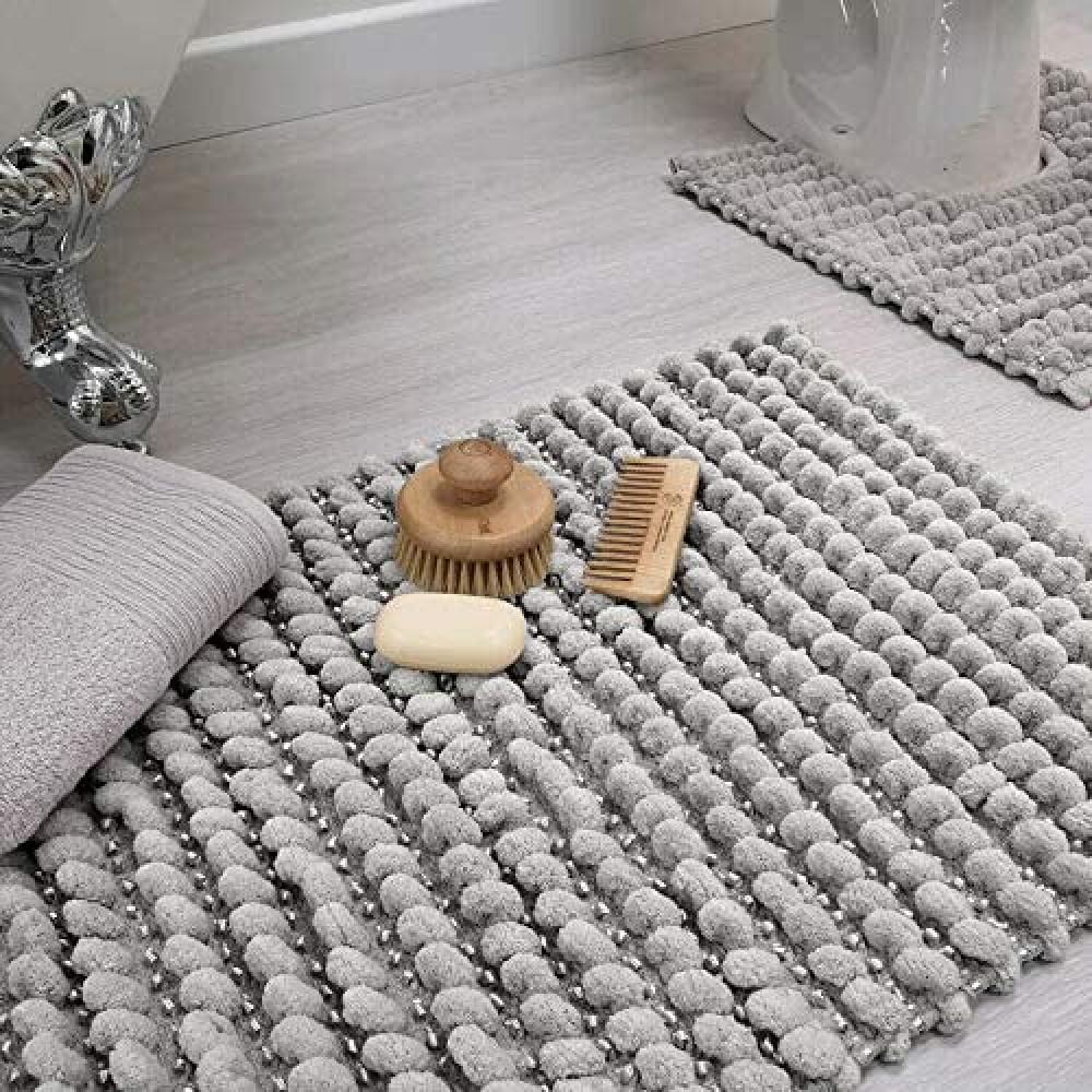 Sparkle Bobble Bath or Pedestal Mat in Dove Grey