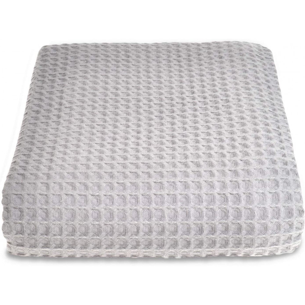 100% Cotton Hotel Waffle Weave Throw Dove Grey