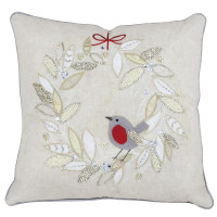 Robin Wreath Christmas Cushion