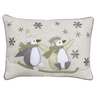 Sledging Penguin Theme Boudoir Christmas Cushion