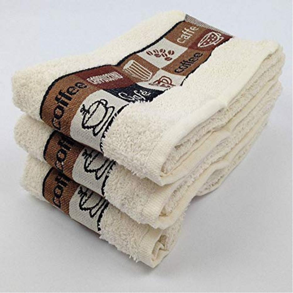Pack of 3 Cafe Cafe Tea Kitchen Towel Cream