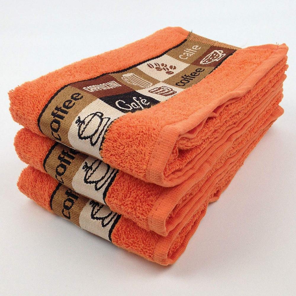 Pack of 3 Cafe Cafe Tea Kitchen Towel Coral