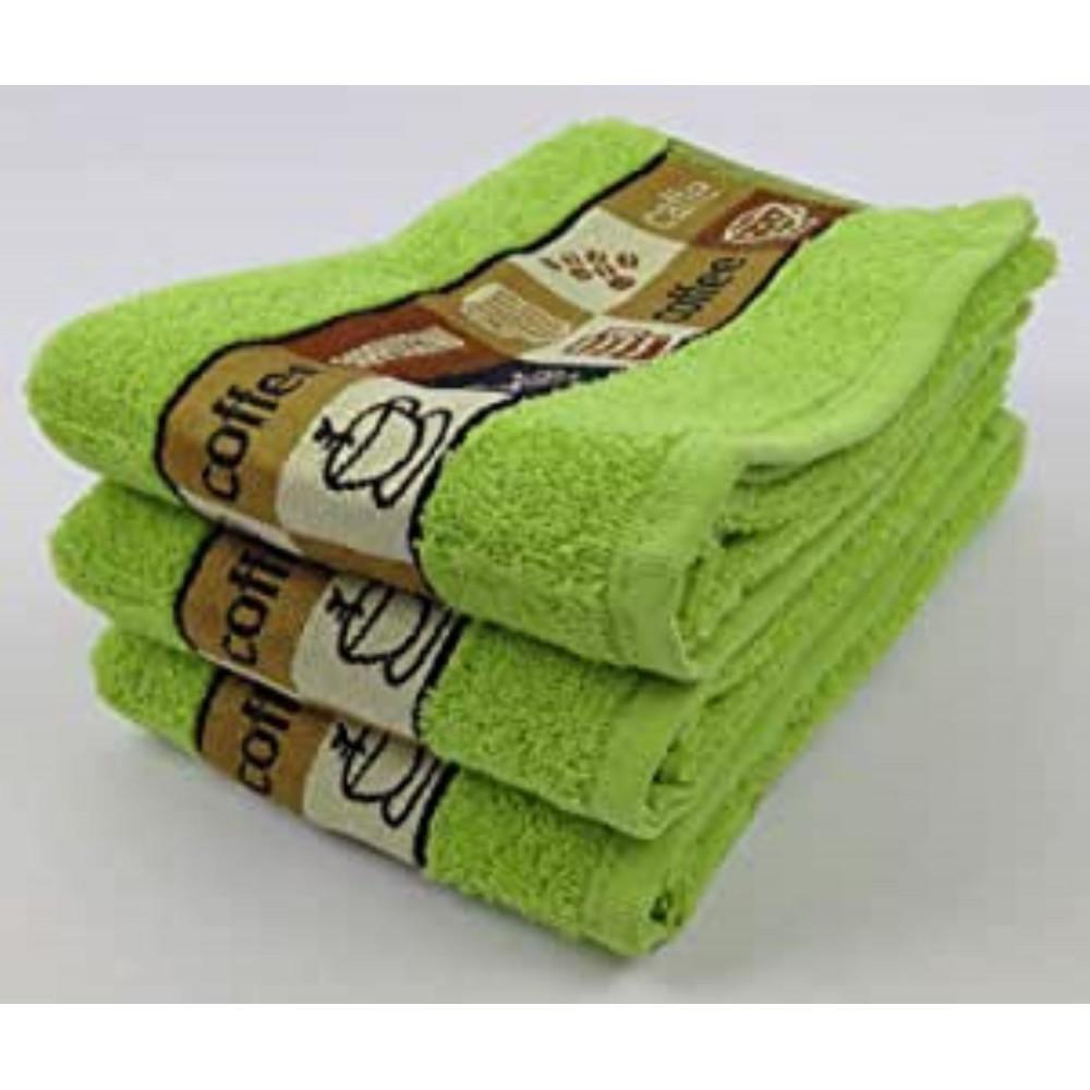 Pack of 3 Cafe Cafe Tea Kitchen Towel Lime Green