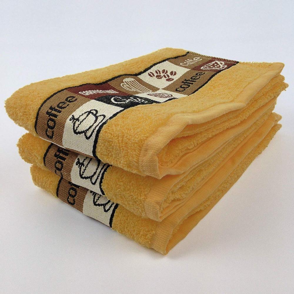 Pack of 3 Cafe Cafe Tea Kitchen Towel Ochre