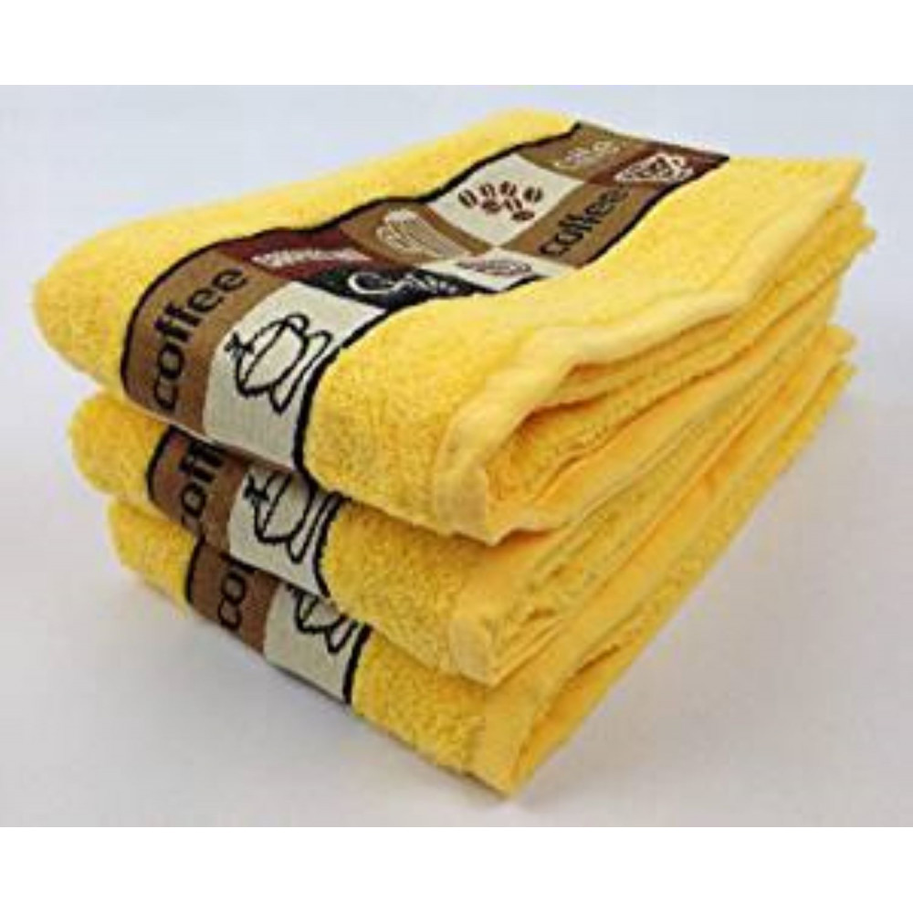 Pack of 3 Cafe Cafe Tea Kitchen Towel Yellow