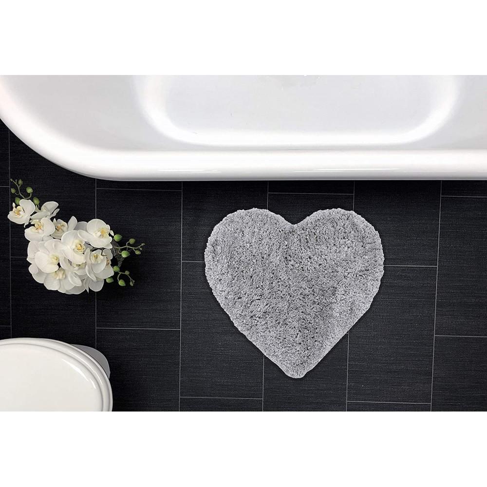 Heart Shaped Bath Mat Rug Grey
