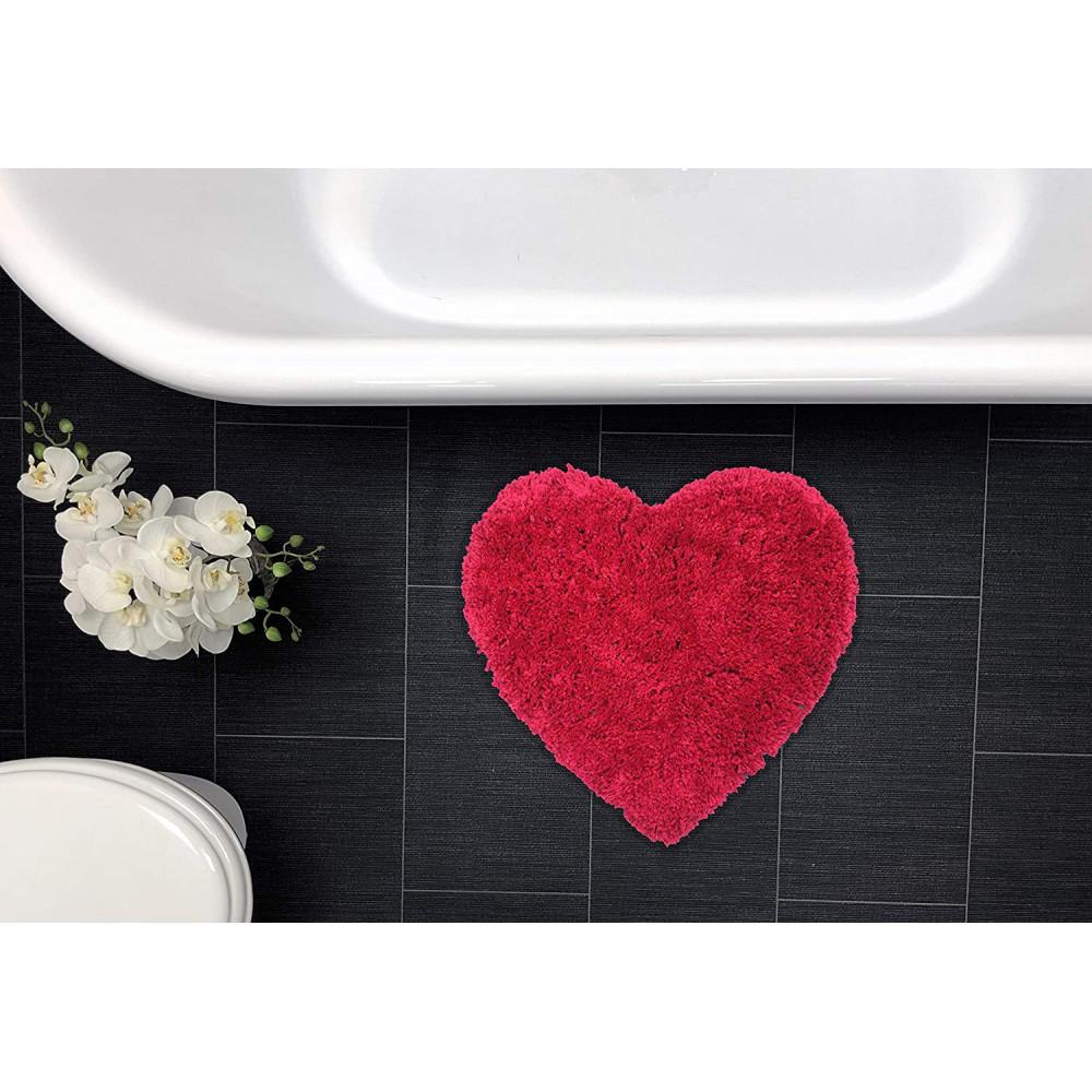 Heart Shaped Bath Mat Rug Hot Pink