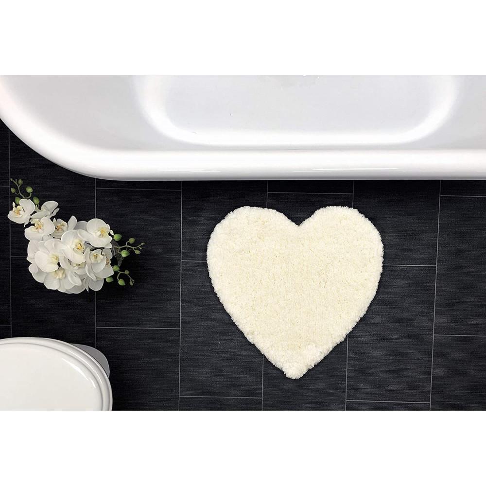 Heart Shaped Bath Mat Rug Off White